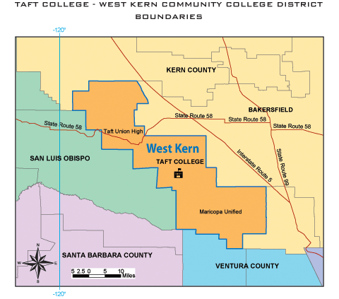 Taft College Boundaries in Kern County
